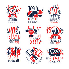 Meat store, steak house logo template set, colorful hand drawn vector Illustrations