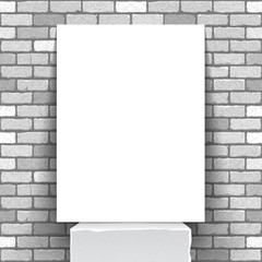 Vector illustration of a white vertical poster standing on a white stand against a white brick wall background