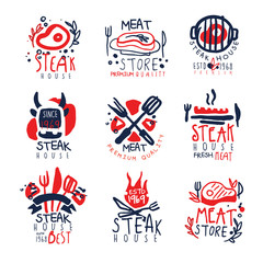 Meat store, steak house premium quality logo template set, colorful hand drawn vector Illustrations