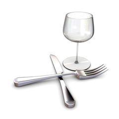 knife fork and glass, 3d rendering