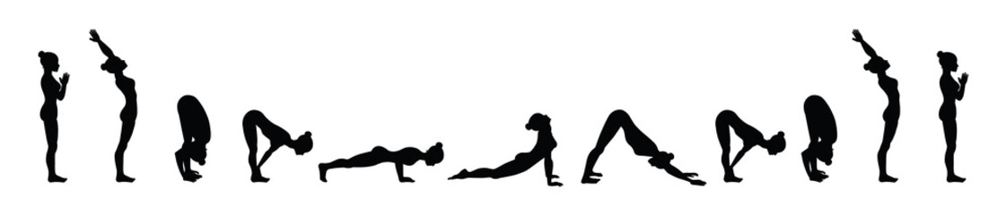 Sun salutation. Surya namaskara A. Yoga sequence.