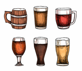 Hand drawn vector illustrations - beer glasses and mugs. Octoberfest or beer fest. Design elements in engraving style. Perfect for invitations, greeting cards, posters, prints