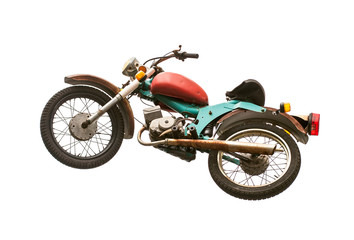Vintage motorcycle isolated on white background