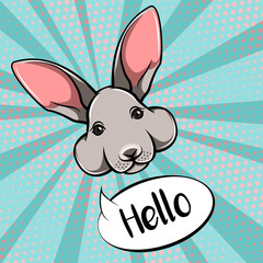 easter bunny cute face rabbit vector illustration isolated