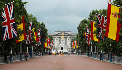 The Union flag hangs alongside the flag of Spain ahead of the visit of King Felipe VI and Queen Letizia of Spain, in the Mall in London