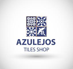 Azulejos tiles shop logo vector