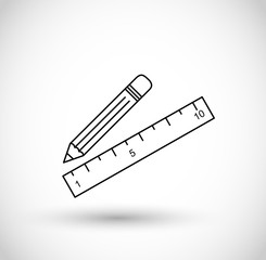 Thin line pencil and ruler icon vector