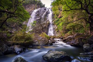 Waterfall in deep forest  Khlong Lan Waterfall , Kamphaeng Phet Province, Thailand .