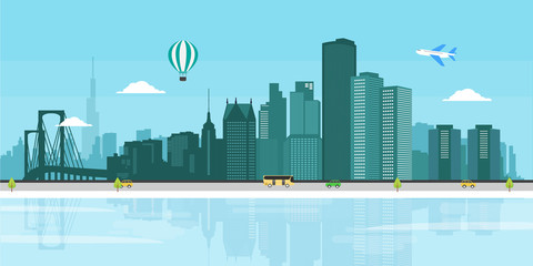 Detroit cityscape flat illustration