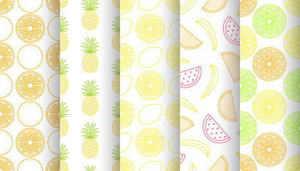 Set of tropical fruits seamless patterns. Vector