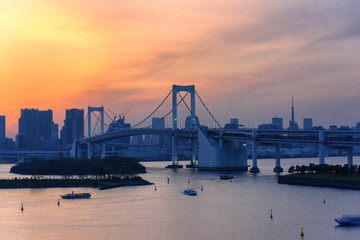 Bird eye view of  Rainbow Bridge from Odaiba . Odaiba  is a popular shopping and entertainment district on a man made island in Tokyo Bay Japan .