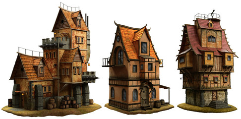 Fantasy buildings 3D illustration Fototapete