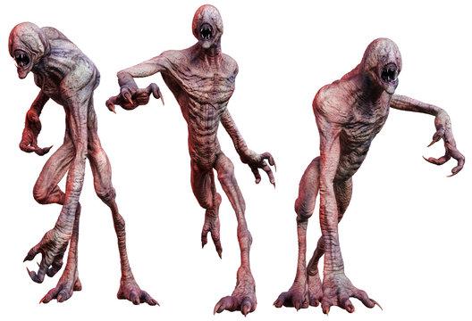 Zombie creatures 3D illustration