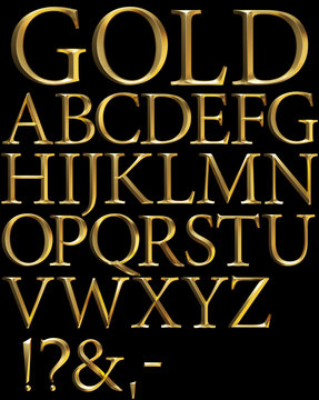 gold beveled 3d alphabet on black
