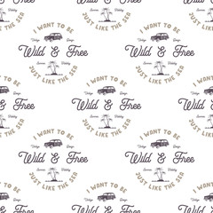Vector monochrome seamless pattern with old style surf car, palms, sea and typography elements. Wilderness wallpaper design. White isolated background. For web design, t shirts, wrapping paper