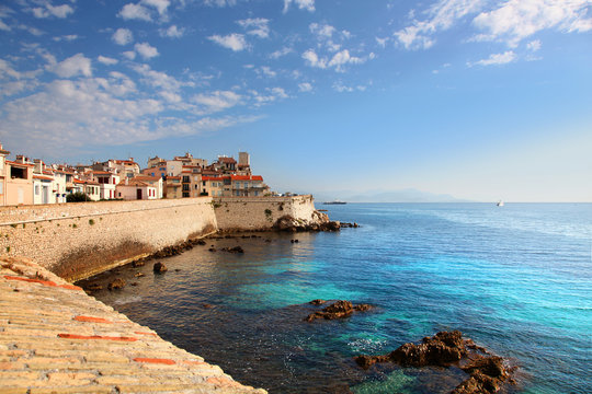 View of seawall in Antibes France