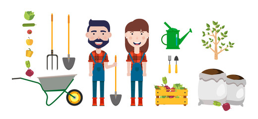 Set of farmer element.Man with a shovel and woman,wheelbarrow,watering can,