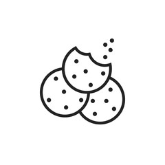 Cookie flat vector icon. Chip biscuit illustration. Dessert food pictogram.
