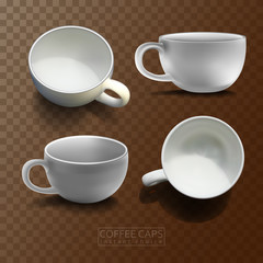 Four coffee cups in different angles