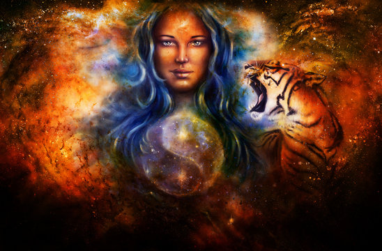 goddess woman and tiger and symbol Yin Yang in cosmic space.