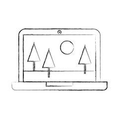 laptop with landscape icon vector illustration design