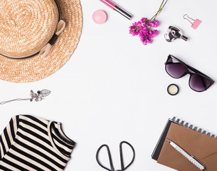 Woman's summer accessories on white background