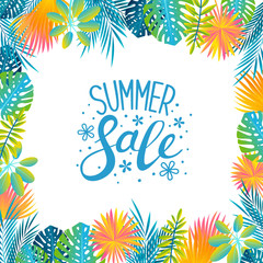 Tropical leaves background for Your summer design