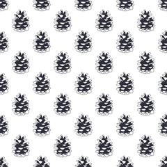 Vintage hand drawn pine cone pattern design. Pinecone seamless wallpaper. Monochrome retro design. Vector illustration. Use for fabric printing, web projects, t-shirts.