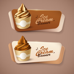 Set of vector banners with ice cream.
