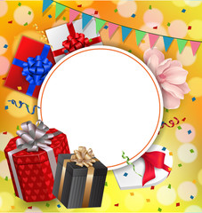 Greeting Card With Blank Round Frame