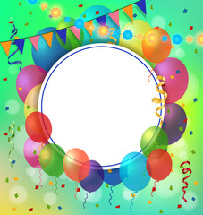 Greeting Card, Balloons and Round Frame