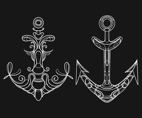 Vector set of stylized ship anchors. Linear Art. Collection of tattoos with an anchor.