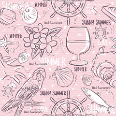 Seamless Patterns with  summer symbols,ship rudder,  parrot, cocktail, fish on a pink  background, vector illustration.