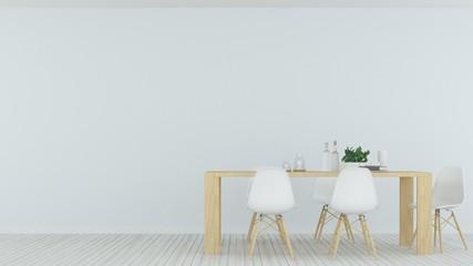 Interior minimal restaurant 3d rendering and wall decoration