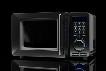 microwave oven on a black background