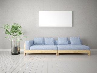Mock up a stylish living room with a comfortable sofa and a large empty frame.