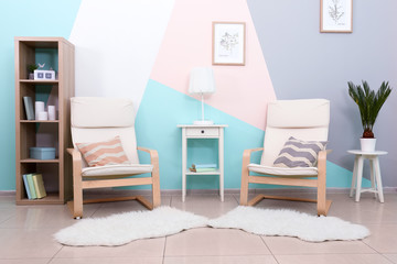 Trendy comfortable room with mint color