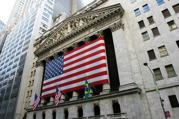 Amerikanische Fahne an der New Yorker Börse