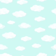 Hand painted seamless watercolor pattern. Abstract watercolor clouds on mint background. Seamless pattern with watercolor white clouds.