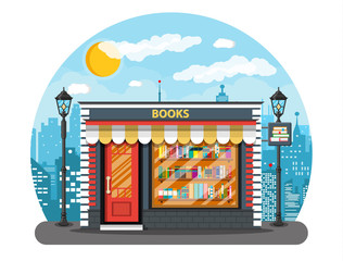 Book shop or store building and cityscape