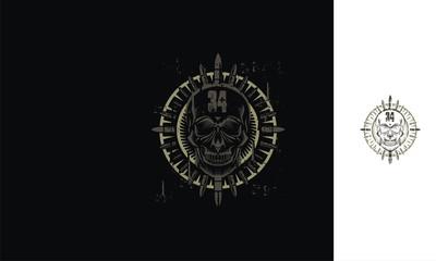 Skull, bullet, hardcore, metal, emblem symbol icon vector logo