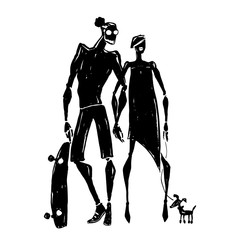 Skateboard. Silhouettes of woman and man.