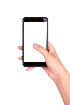 Smartphone in hand on a white background. Using the smartphone.