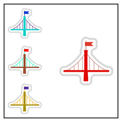 Collection of Vector illustration in paper sticker style metal bridge with flag