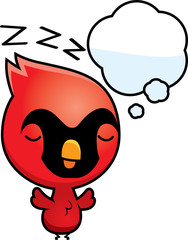 Cartoon Baby Cardinal Dreaming
