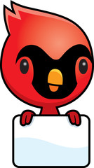 Cartoon Baby Cardinal Sign