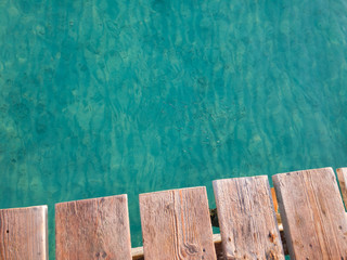 Old Rustic Wood Boards And Majorca Sea Water Summer Background