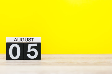 August 5th. Image of august 5, calendar on yellow background with empty space for text. Summer time