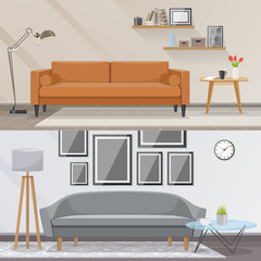 Elements of interior and living room furniture vector concept. Stylish interior design