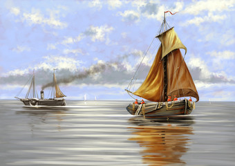 Sea landscape, ships, oil paintings.Digital art.